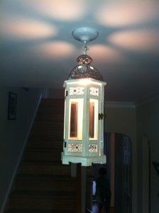 DIY light fixture using a Pier 1 White Wooden Lantern