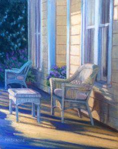 Pleasanton Porch Original Pastel on Paper 18 x 10