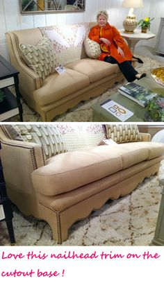 Bunny Williams does it again! This Sofa knocked me over with the cutout base and nailhead trim.   Uber-comfortable with or without pillows that fit all design settings and familys.   For a formal living room or the most cozy Family room.. honestly you could sleep on it!  Beeline Home #HPmkt #StyleSpotters www.dec-a-porter.blogspot.com