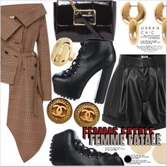 A fashion look created by MissKouture featuring Leather Platform Ankle Boots, Gold-Tone Ring, Earrings, Earrings. Virtual Fashion, Urban Chic, Street Style, Design, Street Style Fashion, Design Comics, Street Styles, Street Fashion