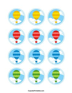 Hot air balloon cupcake toppers. Use the circles for cupcakes, party favor tags, and more. Free printable PDF download at http://cupcakeprintables.com/toppers/hot-air-balloon-cupcake-toppers/