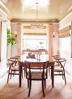 Superbe Pale Pink Dining Room // Lonny//it Is The Gold Ceiling That Makes