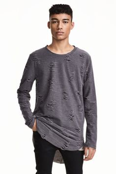 Triko s obnošenými detaily - Tmavě šedá - MUŽI | H&M CZ