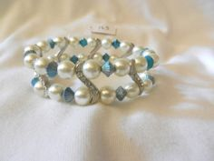 Turquoise & White Beads Stretch S Curve Rhinestones Faux Pearl Bracelet