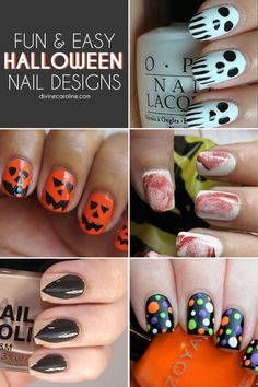 Here are 13 fun and easy Halloween nail art ideas to try. #Halloween #NailDesign