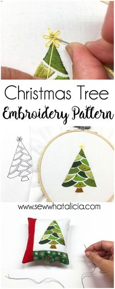 Embroidered Christmas Tree Pattern and Tutorial: This tutorial is perfect for getting a jump on your Christmas sewing. This tutorial is perfect for all levels of embroiderers. Click through for the free pattern and full tutorial. | www.sewwhatalicia.com #sewing #Christmas #embroidery #Christmastree