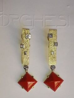 Earrings: Coral, Gold and Diamonds - #borghesi.it - #veronaforever - #marcoborghesi - #orodesigns - #prismadiamante
