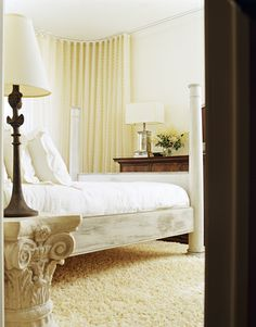 Shabby Chic Style - White Bedroom - could be nice entirely cream colored or with chocolate brown accents.