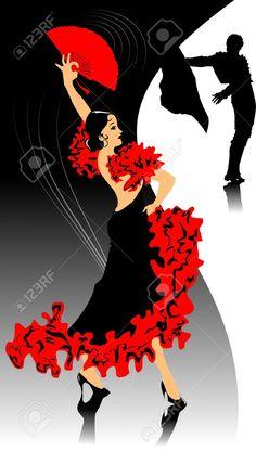 Danseur en noir danse robe de flamenca illustration - Danseuse flamenco dessin ...