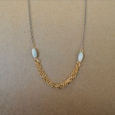 Gold and Silver Chain Necklace, Light Turquoise and Chain