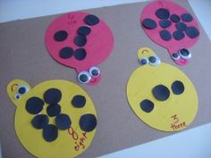 Ladybug Counting Craft-put in tubs for individual activities, (monsters-eyes /trees-apples /clouds-raindrops /shirts-buttons /apples-seeds /cake-candles /shark-teeth)