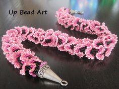 Handmade Necklace Beaded in Pink Ruffle. $250.00, via Etsy.