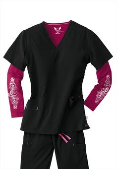 Smitten Magic Rock Goddess V-neck Scrub Tops Scrubs Outfit, Scrubs Uniform, Medical Uniforms, Work Uniforms, Medical Scrubs, Nursing Scrubs, Dental Scrubs, Cute Scrubs, Black Scrubs