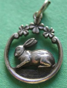 Antique Art Nouveau German 800 Silver Bunny Rabbit w Clover Charm Delightful | eBay