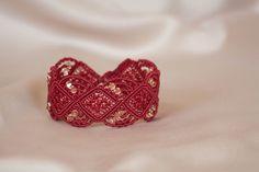 Micro macrame red bracelet with Swarovski by NinaKJewellery