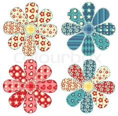 Diy Crafts - Set of four quilt flower Patchwork series illustration Stock Photo Flower Applique Patterns, Patchwork Quilt Patterns, Crazy Patchwork, Applique Templates, Applique Quilts, Applique Designs, Diy Projects Etsy, Applique Wall Hanging, Sewing Appliques