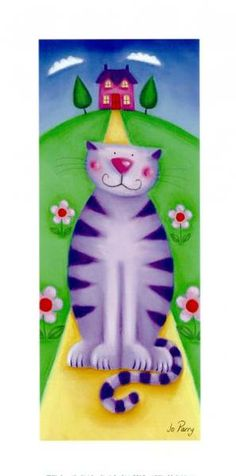 "Photo from album ""Jo Parry"" on Yandex. Crazy Cat Lady, Crazy Cats, Stitch Games, Cat Character, Purple Cat, Cat Colors, All About Cats, Here Kitty Kitty, Cat Drawing"
