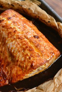 4 Ingredient Orange Salmon-Super simple and super delicious baked salmon recipe. Delightful combination of sweet and salty flavors in this easy Orange Salmon that is made with only 4 ingredients.