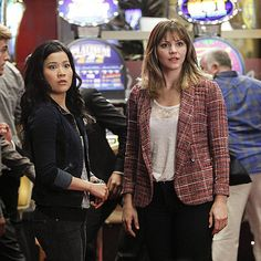 "Jadyn Wong and Katharine McPhee on the set of ""Shorthanded"""