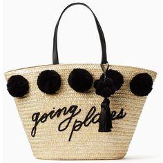 Kate Spade Lewis Way Large Pom Marketa ($298) ❤ liked on Polyvore featuring bags, handbags, purses, white purse, handbags totes, beach tote bags, straw purse and kate spade purses