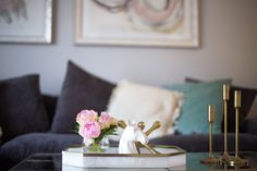 Glitter & Gingham's Living Room // Minted Art, Z Gallerie Couch, World Market Pillows, Homegoods Coffee Table