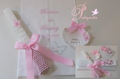 Convites Vela, concha e respetivas bolsas com decoração. Lembranças para convidados: almofadinha de alfazema e capa... Felt Diy, Christening, Decoupage, Gift Wrapping, Baby Shower, Candles, Gifts, Party Ideas, Baptism Candle