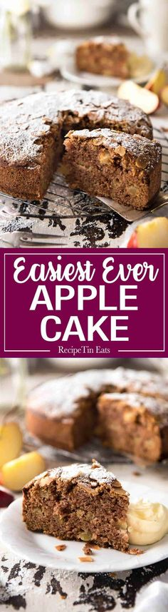 A very moist, perfectly spiced Apple Cake! This is incredibly easy to make - no mixer required. This must be made with fresh apples, not canned. See note 5 for information about different measures in… Moist Apple Cake, Easy Apple Cake, Apple Cake Recipes, Apple Desserts, Easy Desserts, Baking Recipes, Delicious Desserts, Dessert Recipes, Yummy Food