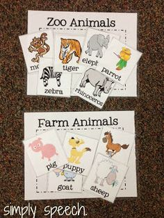 Zoo Animals and Farm Animals Sorting Activity