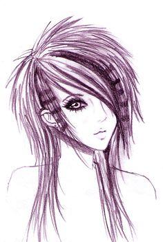 pencil drawings of emo women