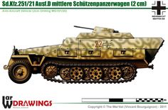 Sd.Kfz.251/21 Ausf.D Military Weapons, Military Art, Military Drawings, Armored Fighting Vehicle, Military Pictures, Tank Design, Ww2 Tanks, Chenille, Military Equipment