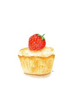 ORIGINAL Painting  Strawberry Cupcake Sweet by ForestSpiritArt, £15.00