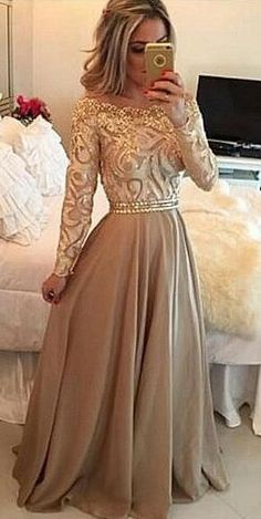 Champagne Prom Dresses, Beading Prom Dresses, Long Prom Dress,Lace Prom Dresses, Long Sleeves Prom Dress, A line Formal Dresses