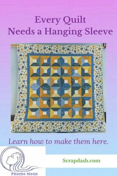Your quilt is a work of art. Why not hang it on the wall? Here is how to make a hanging sleeve for your quilt. Scrappy Quilt Patterns, Applique Quilt Patterns, Scrappy Quilts, Easy Quilts, Mini Quilts, Quilting 101, Quilting For Beginners, Quilting Ideas, Applique Wall Hanging