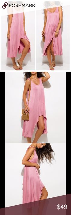 Dusty Pink Sun Dress 💋 *Coming Soon* Dusty Pink Sun Dress. Scoop neck, high low hem mini jersey dress. Light and flowy. Low cut sides, unlined. 95% Rayon / 5% Spandex. New, direct from maker. Great for Birthday, Anniversary, Gift, Present, Vacation, Cruise, Wedding, Pool, Cover Up, Date, Night, Spring, Summer, Sexy, Work, Casual, Boho, lounging, Daytime, Party. Dresses