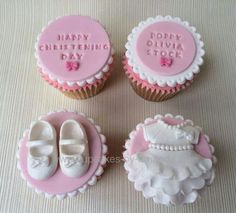 I like the top two Torta Baby Shower, Baby Shower Cupcakes, Shower Cakes, Christening Cupcakes Girl, Christening Cake Designs, Baptism Cookies, Cupcake Cake Designs, Fondant Cupcake Toppers, Cupcake Cakes