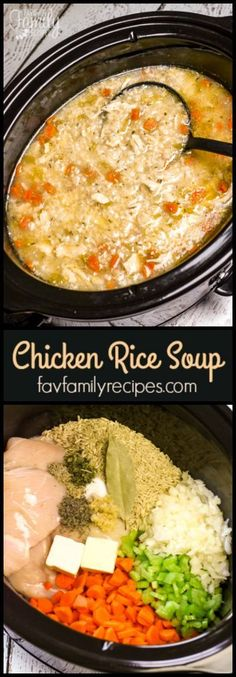 Slow Cooker Chicken and Rice Soup is an easy chicken soup recipe. All of the raw ingredients go in the slow cooker and a delicious soup awaits for dinner. via Favorite Family Recipes Slow Cooker Chicken and Rice Soup Susan Tucker Soups Slo Slow Cooker Huhn, Crock Pot Slow Cooker, Crock Pot Cooking, Cooking Recipes, Cooking Tips, Vegetarian Recipes, Slow Cooker Healthy Soup, Catering Recipes, Vegetable Recipes