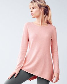 We created this sweater with the qualities we love in a to-and-fro piece: an easy silhouette fitted at the shoulders with a subtle A-line swing, and an asymmetric hem just long enough to give you coverage over leggings.