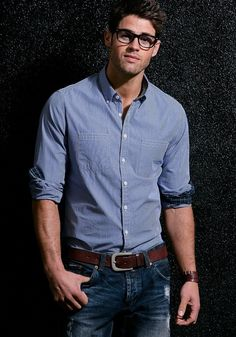 Button ups ticked in with a belt! ~ men's fashion ~