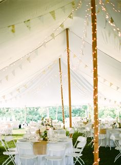 Flags and lighting in tent