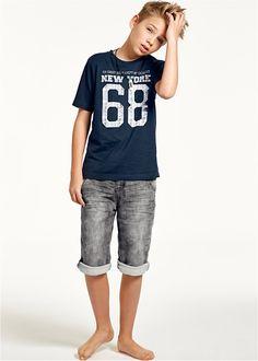 T-shirt with print, bpc bonprix collection - barefoot - Kids Style Young Cute Boys, Cute Teenage Boys, Teen Boys, Boys Summer Outfits, Teenage Girl Outfits, Boy Outfits, Young Boys Fashion, Fashion Kids, Handsome Kids