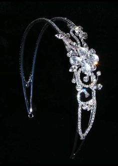 Rhinestone Jewelry Corporation 2 Row Baguette Spaced Headband #11451  $10.00 per piece. Plated in Silver. Each piece is individually wrapped in plastic. Minimum order for this style: 6