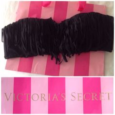 New Victoria's Secret bandeau fringe top Black top size medium. Victoria's Secret Swim Bikinis