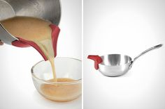 12 Multi-Tasking Kitchen Tools to Ease Thanksgiving Prep via Brit + Co. - Silicon Slip-On Bowl Pour Spout