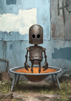 My name is Matt Dixon. I also like to paint pictures of robots, a series of images I call 'Transmissions'. Arte Robot, Robot Art, Matt Dixon, Illustrations, Illustration Art, Cyberpunk, Science Fiction Art, Sci Fi Art, Cartoon Art