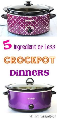 5 Ingredient or less Crockpot Dinners! ~ from TheFrugalGirls.com ~ these delicious Crock Pot dinner recipes couldn't be easier, and are packed with flavors your family will love! #slowcooker #recipe #thefrugalgirls