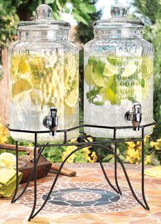 Double Glass Drink Dispensers Party Jug Cold Beverage Lemonade Tea Wedding Gift