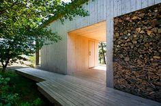 Finnish home. Sauna and wood stack.