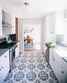 Pin By Tara Holancin Hart On House Tiles Encaustic Tile Kitchen Cottage Kitchen Tiles, Blue Kitchen Tiles, Kitchen Island Decor, Kitchen Ideas, White Galley Kitchens, Encaustic Tile, House Tiles, The Ranch, Kitchen Flooring
