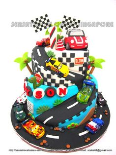 Sensational Cake Singapore , Online Cakes Singapore : RACE CARS THEME CAKE SINGAPORE / 3D MINI COOPER CAR CAKE SINGAPORE / 1ST BIRTHDAY CAKE