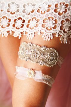 Luxury Bridal Wedding Garter Set  Crystal Rhinestone Garter Belts Vintage Garters by NAFEstudio